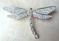 Large Silver Plated Crystal Dragonfly Brooch By Avon